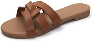 Slide Flat Sandal with Woven Single Over The Toe Strap