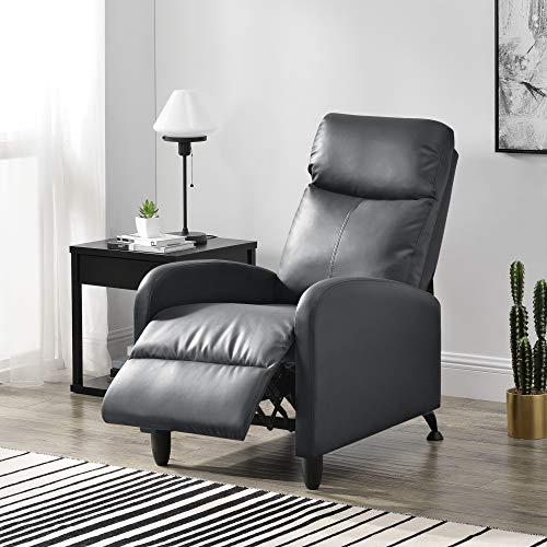 [en.casa] Polstersessel Bregenz Relaxsessel Relaxliege 102x60x92 cm Liegesessel Fernsehsessel Sessel mit Verstellbarer Rückenlehne TV Sessel aus Kunstleder Grau