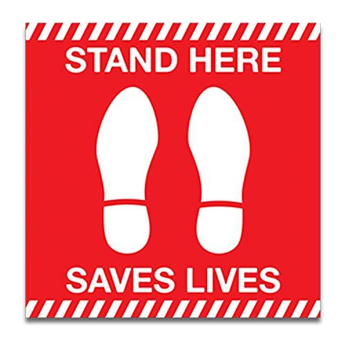 Covid 19 Social Distancing Stand Here Save Lives Corona Virus Pegatinas de Suelo Autoadhesivas con Impresión UV Flash Cut para tráfico pesado para exterior e interior, 30,5 x 30,5 cm (rojo)