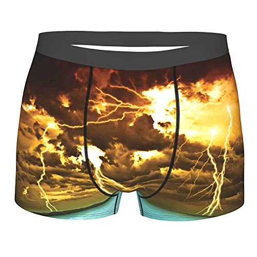 Herrenunterwäsche,Flash Storm über dem See mit großen Regenwolken Miracle Solar,Boxershorts atmungsaktive Komfortunterhose Größe L