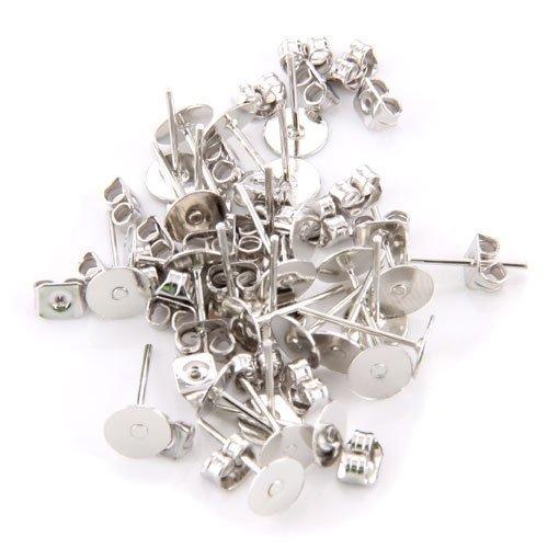 Gleader 15 pares pendientes de bases X cameo banado en plata