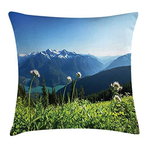 Butlerame Nature Throw Pillow Cover, Lake Washington Mountains Diente de león Flores de Cardo Imagen de Desierto, 18 x 18 Pulgadas, Verde Cielo Azul