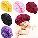 5 Pieces Kids Satin Bonnets Wide Band Silk Bonnet Night Sleep Cap Toddler Hair Bonnet Sleeping Hat For Natural Hair Kids Children Infant Newborn Babies Girls