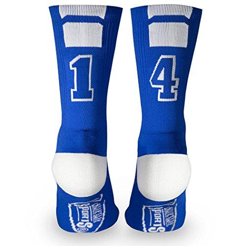 Custom Team Number Crew Socks   Athletic Socks by ChalkTalkSPORTS   Blue   14