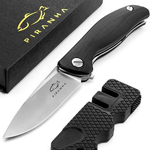 PIRANHA Einhand Klappmesser Liner Lock - D2 Stahl - Outdoor Survival Messer in Silber - inkl. Schärf Werkzeug - Modell Belleza - Qualitätsgeprüft