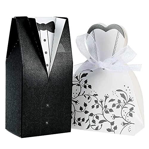 PUMYPOREITY 100 Stück Hochzeit Gastgeschenke Süßigkeiten Kasten Gastgeschenke Schachtel Hochzeit Geschenkbox Kartonage Tischdeko Hochzeit Dekoration Hochzeit Brautkleid Entwurf