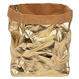 ONVAYA®, cestino portaoggetti, oro/grigio, scatola decorativa, scatola regalo, effetto pelle, vegano, lavabile, cestino per il pane (oro, XL)