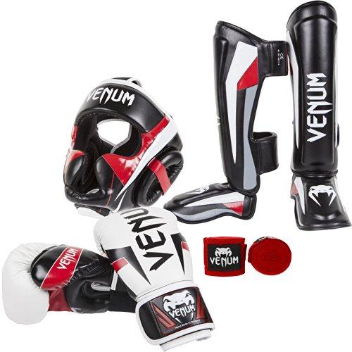 Venum Elite Standup Bundle, White Gloves, Black Shinguards, Black Headgear, Red Handwraps,...