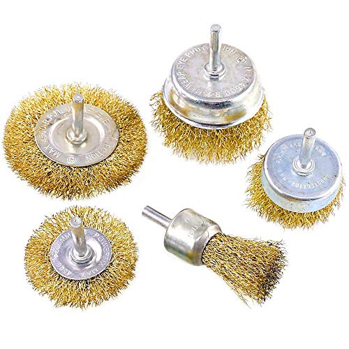 5pk Wire Brush Drill Attachments Kit, Brass Coated Bristles, 5 Sizes Coated Wire Drill Brush Set Perfect For Removal of Rust/Corrosion/Paint - Reduced Wire Breakage and Longer Life
