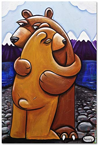 Bear Hug Giclee Archival Canvas Print Wall Art Décor for Home & Office from Original Painting by Seattle Mural Artist Henry 30' x 45'