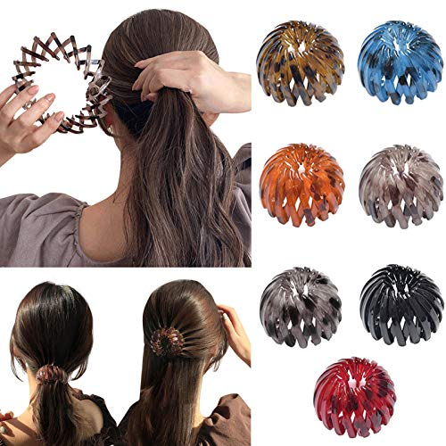 Bublanwo 7Pcs Women's Hair Clips Expandable Ponytail Holder Clip Vintage Bird Nest Shape Retractable Hair Loops Hair Accessories for Women Girls