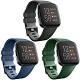 AK [3 Pack] Soft TPU Bands Compatible with Fitbit Versa, Elastomer Replacement Wristband Sports Waterproof Strap for Fitbit Versa Lite Smart Watch Women Men (Small, Black/Navy Blue/Olive Green)