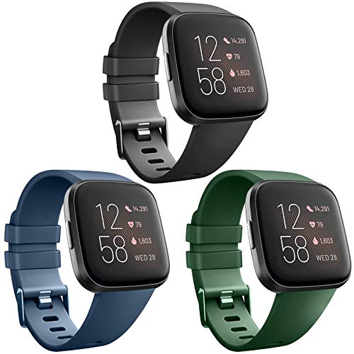 AK [3 Pack] Soft TPU Bands Compatible with Fitbit Versa, Elastomer Replacement Wristband Sports Waterproof Strap for Fitbit Versa Lite Smart Watch Women Men (Large, Black/Navy Blue/Olive Green)