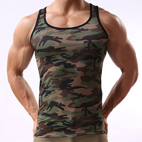 Men Tank Top Fitness,Vanvler Male [ Bodybuilding Muscle Shirt] Slim Fit Blouse Camouflage Vest Sportswear (M, Camouflage)