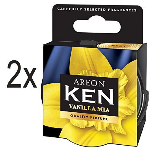 AREON Ken Désodorisant Voiture Vanille Mia Maison en Pot Couvercle Ventilé Réglable 3D (Vanilla Mia Lot de 2)