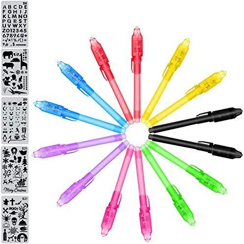 MonQi 14 Pièces Crayons à Encre Invisible avec lumière UV + 5 Pochoirs pour le Dessin (Des Centaines de Graphismes),S...