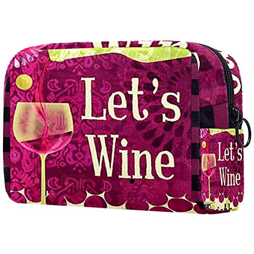 Trousse de Toilette de Maquillage pour Les Femmes Sac à Main Organisateur de kit de Voyage cosmétique,vin Un Peu Raisins vin de Pays Rouge Boissons Petit