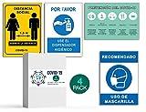 Señalización COVID 19 | Pack 4 Señales Dispensador Jabón + Distancia Social + Mascarilla + Pautas | Carteles para Empresas y Comercios | Autoinstalable| 21 x 30 cm | Descuentos por Cantidad