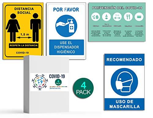 Señalización COVID 19   Pack 4 Señales Dispensador Jabón + Distancia Social + Mascarilla + Pautas   Carteles para Empresas y Comercios   Autoinstalable  21 x 30 cm   Descuentos por Cantidad