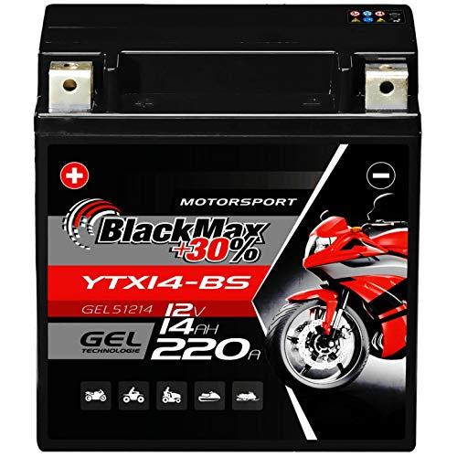 BlackMax YTX14-BS Motorradbatterie GEL 12V 14Ah CTX14-BS 51214 Batterie YTX14-4