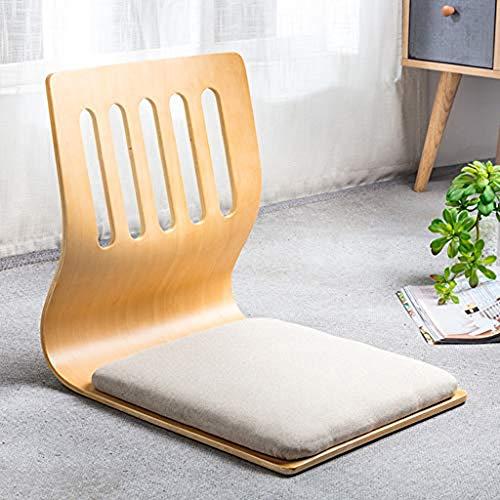 NanXi Japonesa Silla Baja Legless, Silla de Madera Tatami ventanal meditación salón Silla sofá Perezoso para Leer la TV,Gris