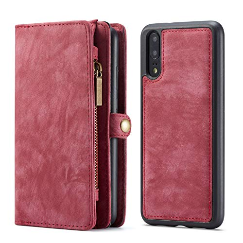 KelaSip Hülle Leder Huawei P20 Case HandyHülle Handytasche Brieftasche Schutzhülle Geldbörse [Kredit Kartenfächer] [Standfunktion] [Abnehmbarer Magnetisch Fall] für Huawei P20 - Rot