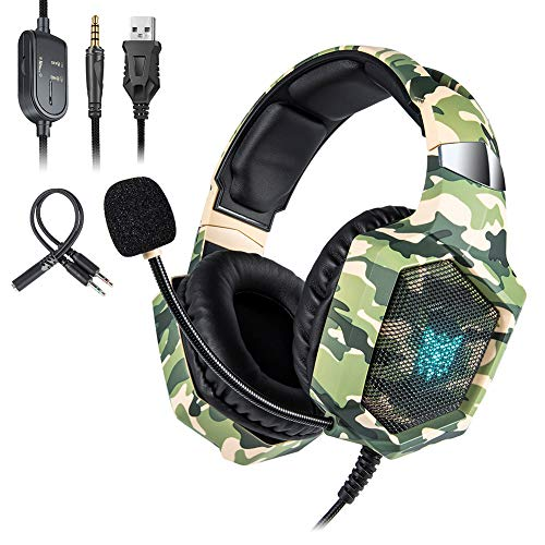 Cakunmik Gaming Headset Full Coverage Headset 360 Degree Noise Reduction Microphone Stereo Headset Suitable for Mobile Phone Laptop,B