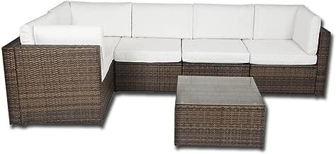 Forma de L esquina ratán muebles de jardín juego de sofá al aire libre Patio invernadero mimbre Weave, beige