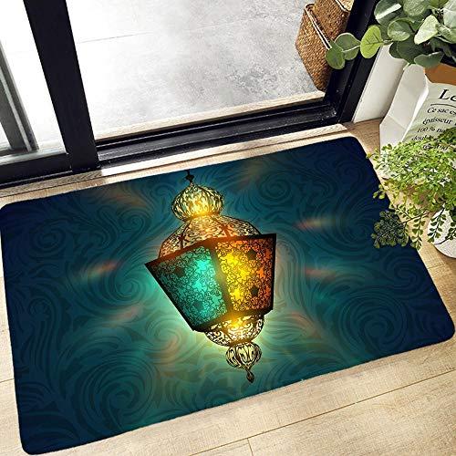 YuPancjua Musulmán Halal Ramadán Impresión 3D Alfombra De Puerta Alfombra De Entrada Cocina Baño Alfombra Antideslizante Alfombra De Franela Suave Lavable 50X80Cm J12861