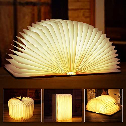 solawill Lámpara de Libro Plegable Lámpara de Mesa Impermeable Anti-desgarro Magnético Lámpara de Noche Portatil Recargable USB Decorativa LED Luces de Madera para Dormitorio, Sala y Comedor