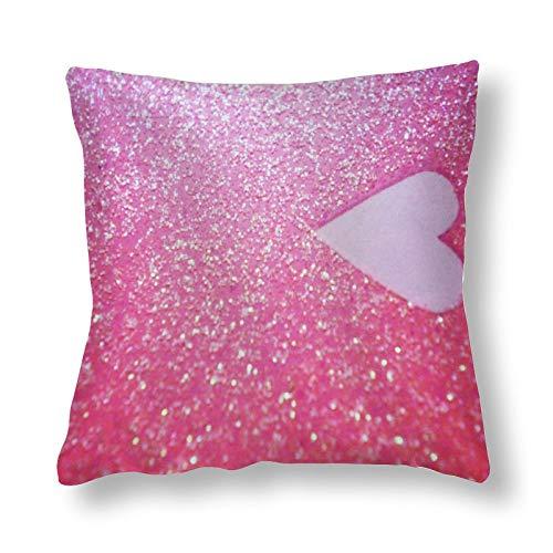 Funda de almohada de poliéster, diseño de amor, color rosa, con purpurina, estampado en ambos lados, 1 paquete de 60 cm x 60 cm