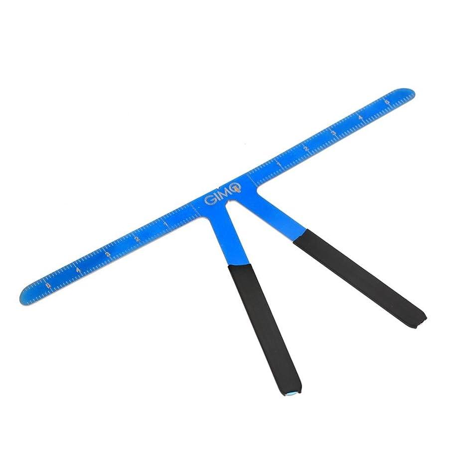 冒険家司教差し迫った恒久的な 眉毛の定規 再利用可能 3点バランスの位置決め 測定ツール(青)