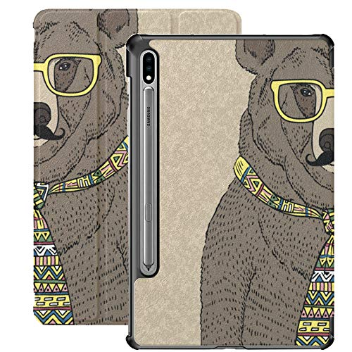 Hand Drawn Illustration Of Hipster Bear I Galaxy Tab S7 Plus Case For Samsung Galaxy Tab S7/s7 Plus Cases For Tablets Stand Back Cover Cases For Tablets For Galaxy Tab S7 11 Inch S7 Plus 12.4 Inch