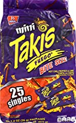 MINI TAKIS: Crunchy rolled corn tortilla chips with hot flavor - spice up your life and challenge your taste buds with Mini Takis Fuego. FUEGO FLAVOR: Your favorite Mini Takis rolled corn tortilla chips with an intense flavor combination of hot chili...