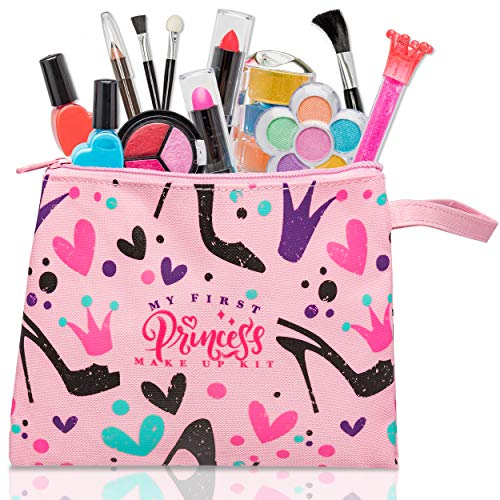 My First Princess Make Up Kit - 12 Pc Kids Makeup Set - Washable Pretend Makeup For Girls - These Makeup Toys for Girls Include Everything Your Princess Needs To Play Dress Up - Comes with Stylish Bag