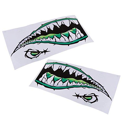 Homyl 2 Pieces Waterproof Shark Teeth Mouth Decals Sticker for Kayak Canoe Fishing Inflatable Boat Surfboard Car Bumper Laptop Window - Green