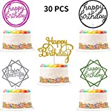30 Pieces Glitter Happy Birthday Cake Topper Birthday Cupcake Topper Colorful Cake Decorations for Birthday Party Supply