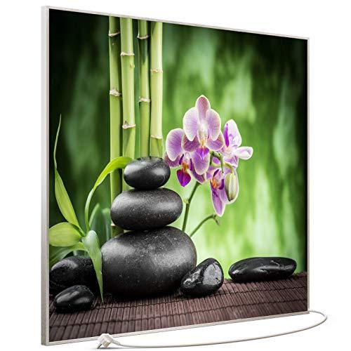 STEINFELD Bild Infrarotheizung mit Thermostat | Made in Germany | viele Motive 350-1200 Watt Rahmen silber (1200W, 055 Zen Basaltsteinen)