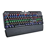 Redragon K555-R Mechanical Gaming Keyboard with Blue Switches, Macro Recording, Wrist Rest, Full Size, Indrah, for Windows PC Gamer (Rainbow RGB LED Backlit)
