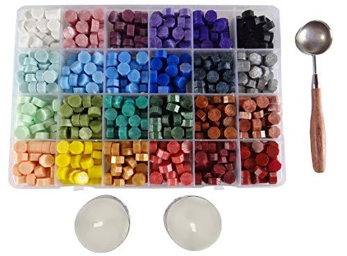 Cordela – Coffret de 600 perles de cire à cacheter, 1 cuillère de fonte, 2 bougies – 24 couleurs de cire adhésive – cire d'étanchéité multicolore – cire à cachet – timbre retro