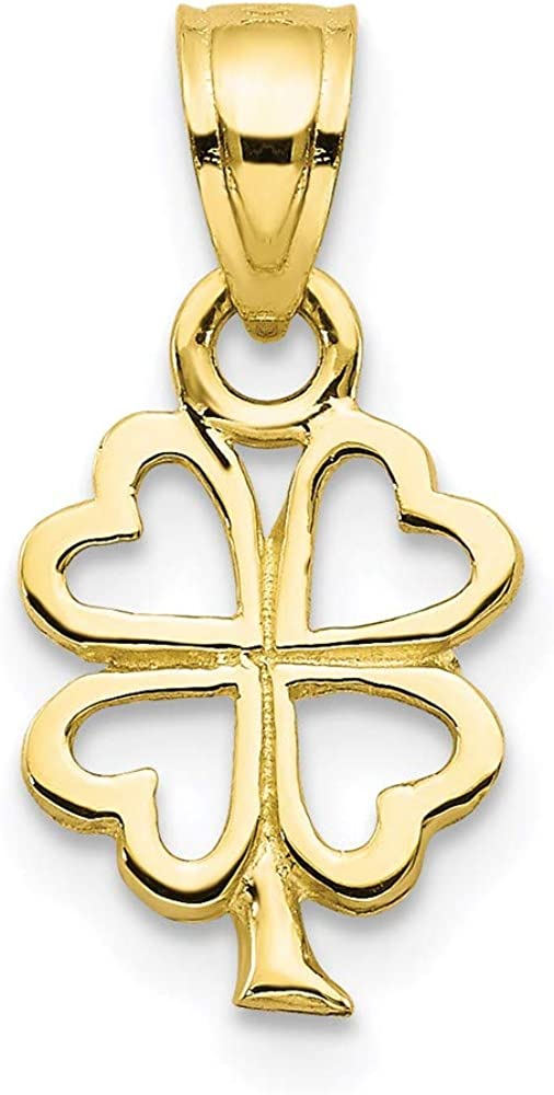 10k Yellow Gold Four Leaf Clover Pendant Charm Necklace Good Luck Italian Horn Fine Jewelry For Women Gifts For Her