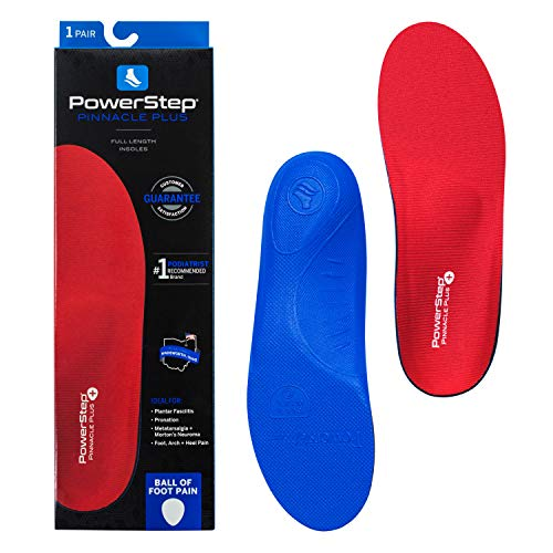 Powerstep Pinnacle Plus Insoles, Built in Metatarsal Pads, Shoe Inserts Orthotic, Red/Blue, Men's 7-7.5 / Women's 9-9.5