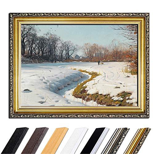 Bild mit Rahmen - Peder Mork Mönsted EIN sonniger Wintertag 80x60 cm - Gerahmtes Leinwandbild Alte Meister - Antiker Rahmen Gold Barock, Klassisch