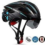 Shinmax Fahrradhelm, MTB Helm Herren Damen Verstellbar Rennradhelm,mit Abnehmbarem Augenschutz Schutzbrille mit wiederaufladbar Sicherheit Led-Rücklicht Radhelm Rennradhelm