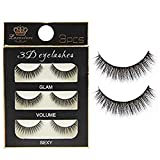 Electomania Handmade Natural 3D Thick Long Polyester False Eyelashes (Black) 3 pairs