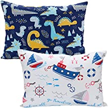 Toddler Pillow for Sleeping with 2 Pillowcases (13 x 18) - Ultra Soft Baby Pillow with 100% Natural Cotton Pillow Cases for 2-8 Years Old Children - Machine Washable ( Dinosaur Sailboat )