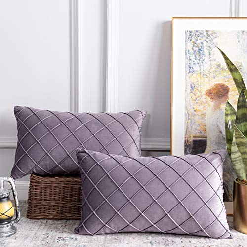 CUTEWIND Decorative Pack of 2 Throw Pillow Covers Dutch Velvet Diamond Checker Pattern Plaid Square Cushion Case for Couch Sofa Bedroom Office Car, Light Purple, 12 x 20 inch (30 x 50 cm)