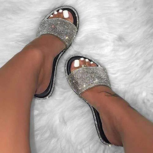 HUSHUI Bañarse Sandalias Zapatillas para Mujer,Sandalias Planas de Diamantes Multicolor con Estampado de Serpiente-Negro_35,Zapatos de Playa y Piscina para