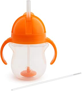 Munchkin Click Lock Weighted Straw Cup, 7 Ounce, Orange, Pack of 1