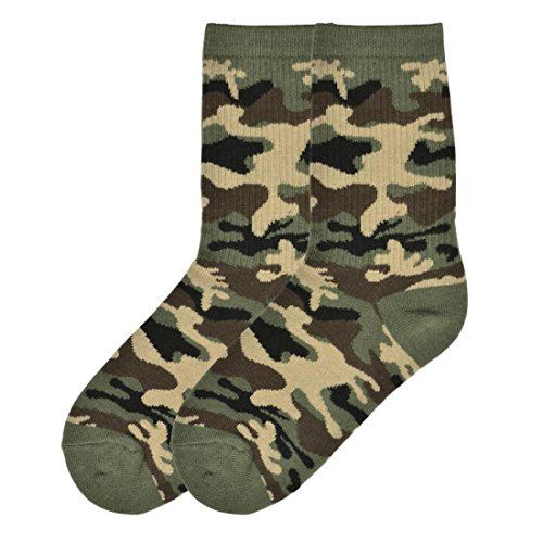 K. Bell Brand Boy's Camouflage Crew Sock, Size: 6-8.5 comes with a Helicase Brand Sock Ring